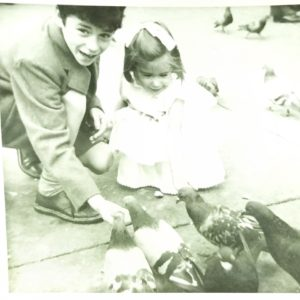 Children with pigeons